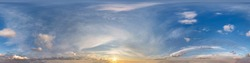 dark blue sky before sunset with beautiful awesome clouds. Seamless hdri panorama 360 degrees angle view with zenith for use in graphics or game development as sky dome or edit drone shot