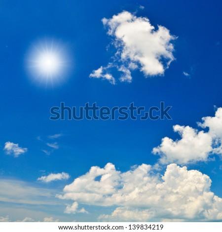dark blue sky with white form clound. #139834219