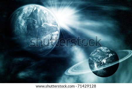 dark blue space view with two planets and light
