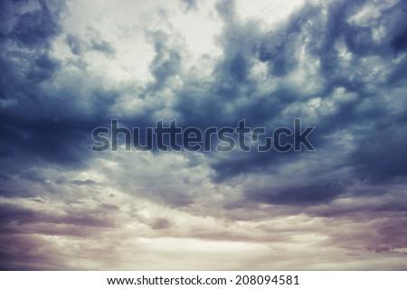 dark blue stormy cloudy sky...