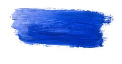 dark blue stroke of the paint brush on white paper