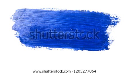 dark blue stroke of the paint brush on white paper #1205277064