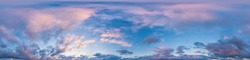 Dark blue sunset sky with Cumulus clouds. Seamless hdr panorama in spherical equirectangular format. Complete zenith for use in 3D, game and as sky replacement for aerial drone 360 panoramas