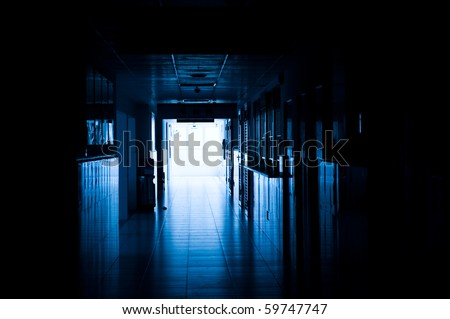 dark blue tone of long corridor in hospital.