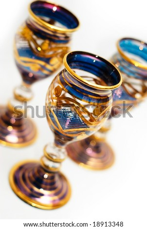 Dark blue Venetian Glass set with gold adornments