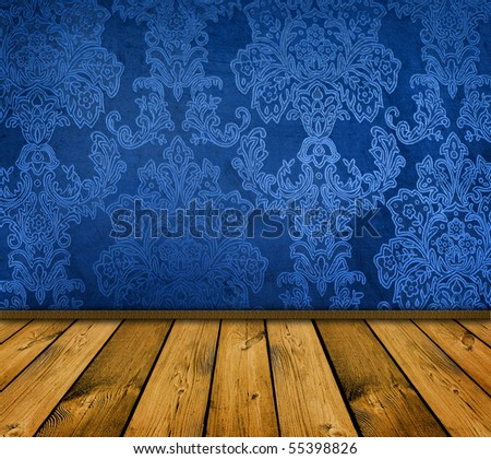 dark blue vintage room with wooden floor