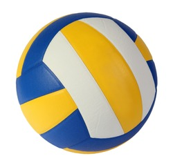 dark blue, yellow Volley-ball ball on a white background