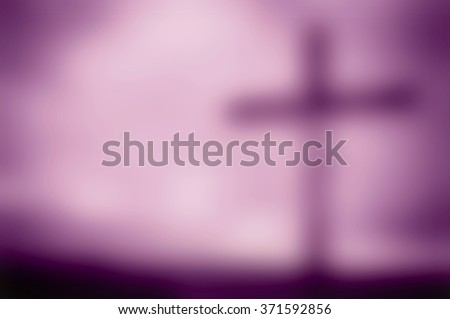 Dark blur artistic purple shade monotone cross Lent background with a vignette and copy space for text