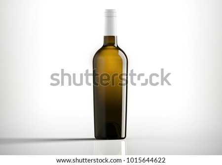 Dark Bottle of white wine, bordolese conical, still life on a white background, 3D rendering.