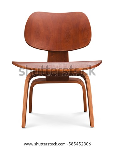 Dark brawn color wooden chair, armchair. Modern designer. Chair isolated on white background. Series of furniture #585452306