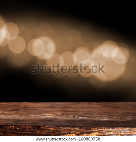 dark brown desk and bokeh space
