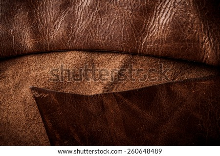Dark Brown Leather Cutting for Concept and Idea Style of Fine Leather Crafting, Handcrafts Workspace, Handmade Leather Handcrafted, Leather Worker. Background Textured and Wallpaper. Vintage Rustic.