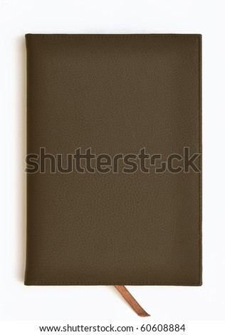 Dark brown leather notebook on white background - stock photo