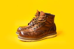 Dark Brown leather vintage boots on Yellow background, Vintage boots, Moc toe