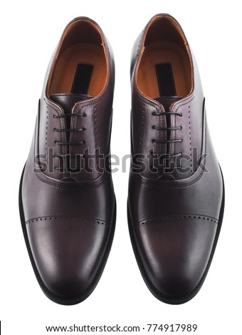 Dark brown men's leather shoes isolated on white background #774917989