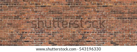 Dark brown  old bricks wall panorama  #543196330