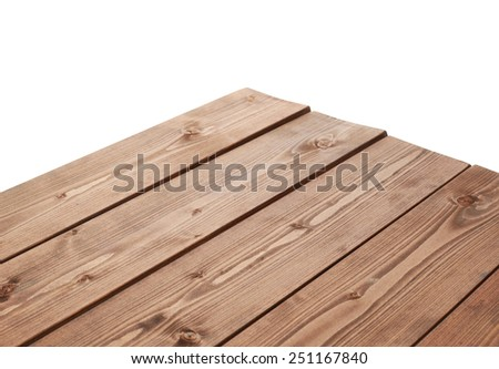 Dark brown paint coated wooden pine boards as a copyspace background composition isolated over the white background #251167840
