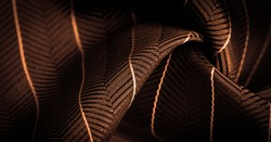 dark brown silk fabric with a thin white stripe, textured pattern, composite textile, noble fabric