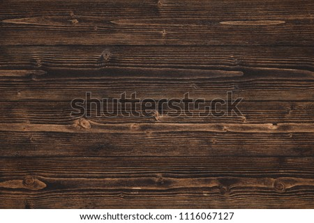 Dark brown wood texture with natural striped pattern for background, wooden surface for add text or design decoration art work #1116067127