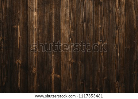 Dark brown wood texture with natural striped pattern for background, wooden surface for add text or design decoration art work #1117353461