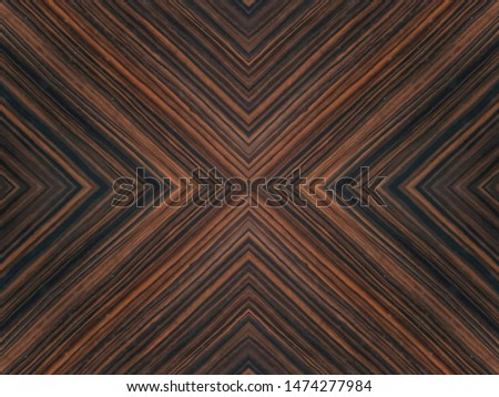 dark brown wooden wall, exotic ebony straight grain with symmetrical concentric lines pattern