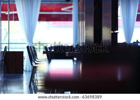 dark cafe interior - stock photo