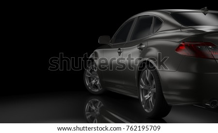 Dark car silhouette 3D illustration