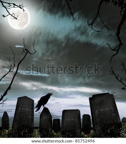 Dark cemetery with raven silhouette