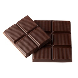 Dark Chocolate Bar isolated on a white background with clipping path.