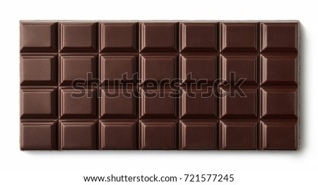 Dark chocolate bar isolated on white background from top view #721577245