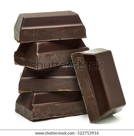 Dark Chocolate bars stack isolated on white background
