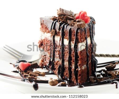 Dark chocolate cake isolated on white