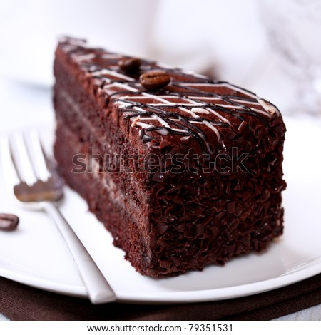 Dark Chocolate Cake With Coffee Beans Stock Photo 79351531 ...