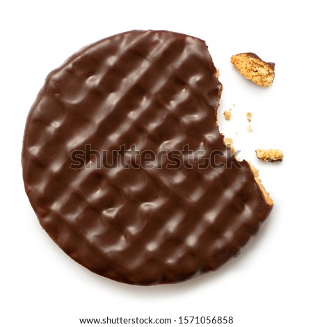 Dark chocolate coated digestive biscuit isolated on white. Partially eaten with crumbs. Top view.