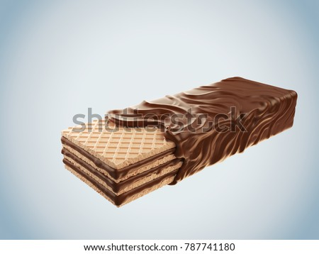 Dark chocolate coated on wafer piece, 3d illustration of Chocolate wafer, Clipping path