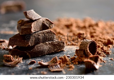 Shutterstock Dark chocolate stack, chips and powder