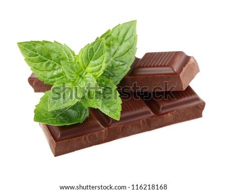Dark chocolate with mint