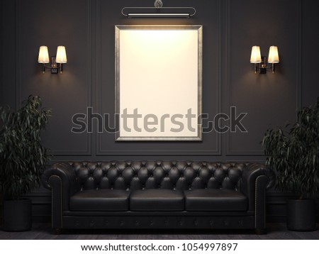 Dark classic interior with sofa and blank picture frame on wall. 3d rendering