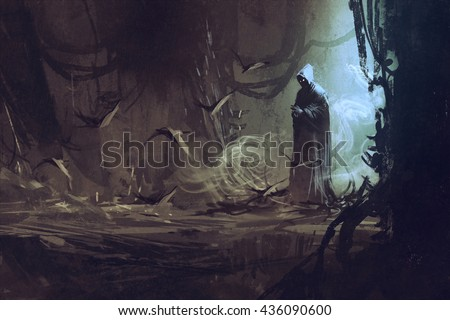 dark cloak in mysterious forest,wizard,sorcerer,illustration