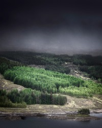 Dark cloud and fog over hill with coniferous forest in the Scottish Highlands.Beautiful landscape scenery in Scotland.