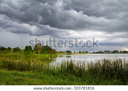 Dark clouds  and rain storm over the lake