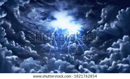 Dark Clouds Formation Storm Lightning Bold Anime Background Landscape Illustration