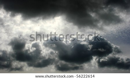 Dark clouds in the sky.
