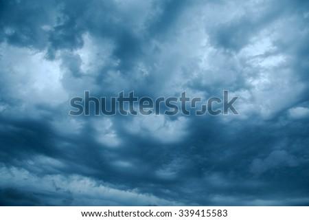 Dark clouds of stormy sky