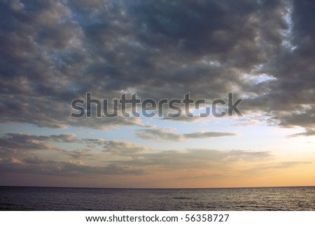 Dark clouds over a sea
