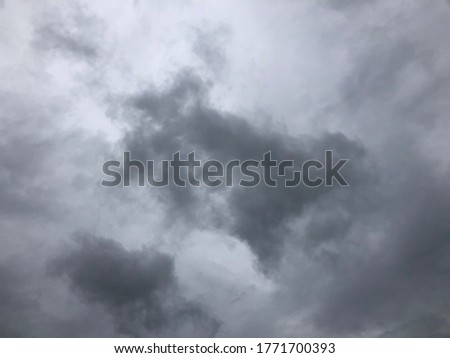 Dark cloudy with windy before raining. Natural disaster from storm in rainy season. Overcast sky.Heavy rain in summer of japan.