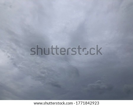 Dark cloudy with windy before raining. Natural disaster from storm in rainy season. Overcast sky.