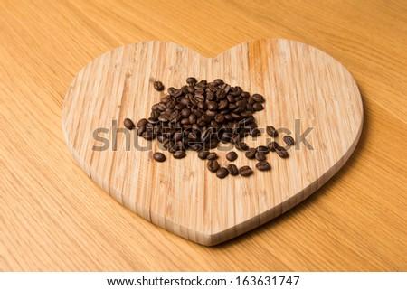 dark coffee beans on heart...