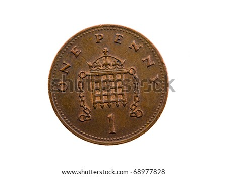 Dark coin, in cost one English of a penny  ( isolated)
