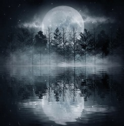 Dark cold futuristic forest. Dramatic scene with trees, big moon, moonlight. Smoke, shadow, smog, snow. Night forest landscape reflection in the river, sea, ocean. 3D illustration